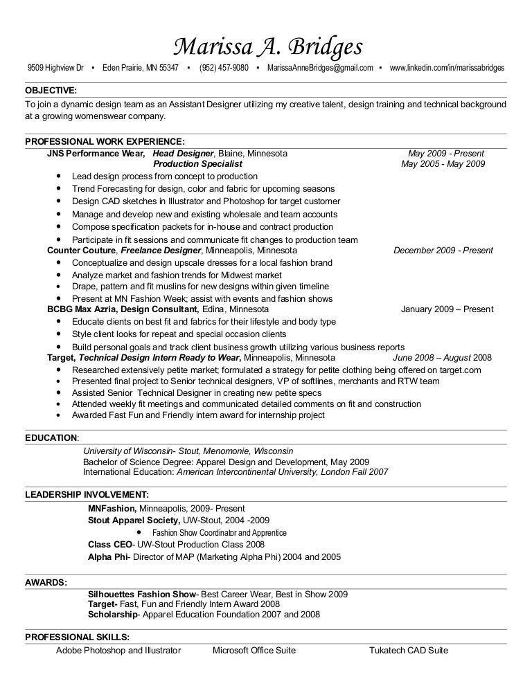 Fashion Resume Example Fashion Designer Resume Example
