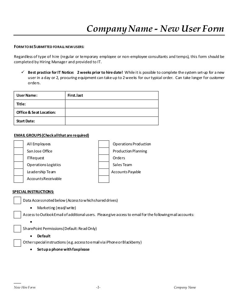 New Hire It Request Form