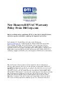 New honeywell hvac warranty policy from DtiCorp.com
