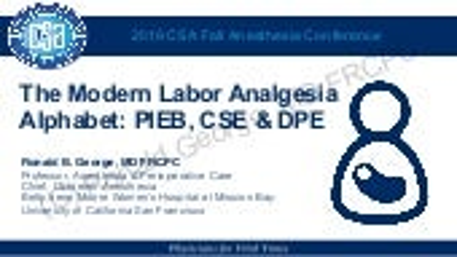 Update labor analgesia - PIEB, CSE, DPE