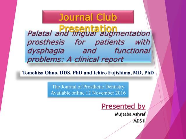 Journal Club for prosthodontics