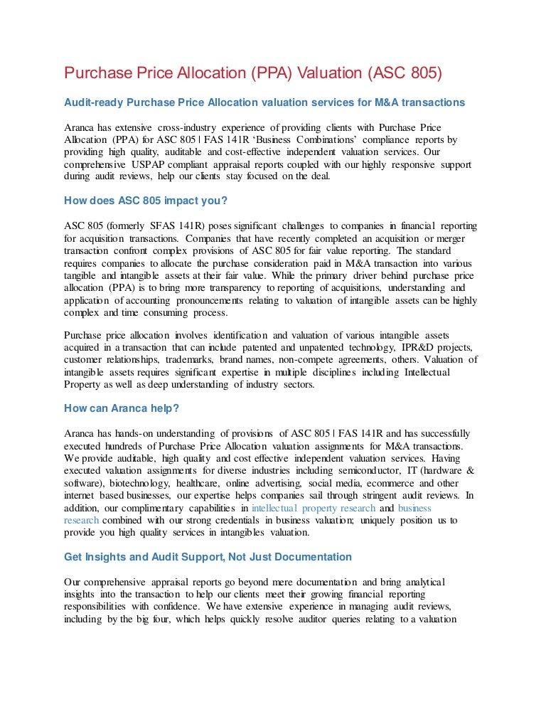 Aranca Purchase Price Allocation Ppa Valuation Services Asc 805