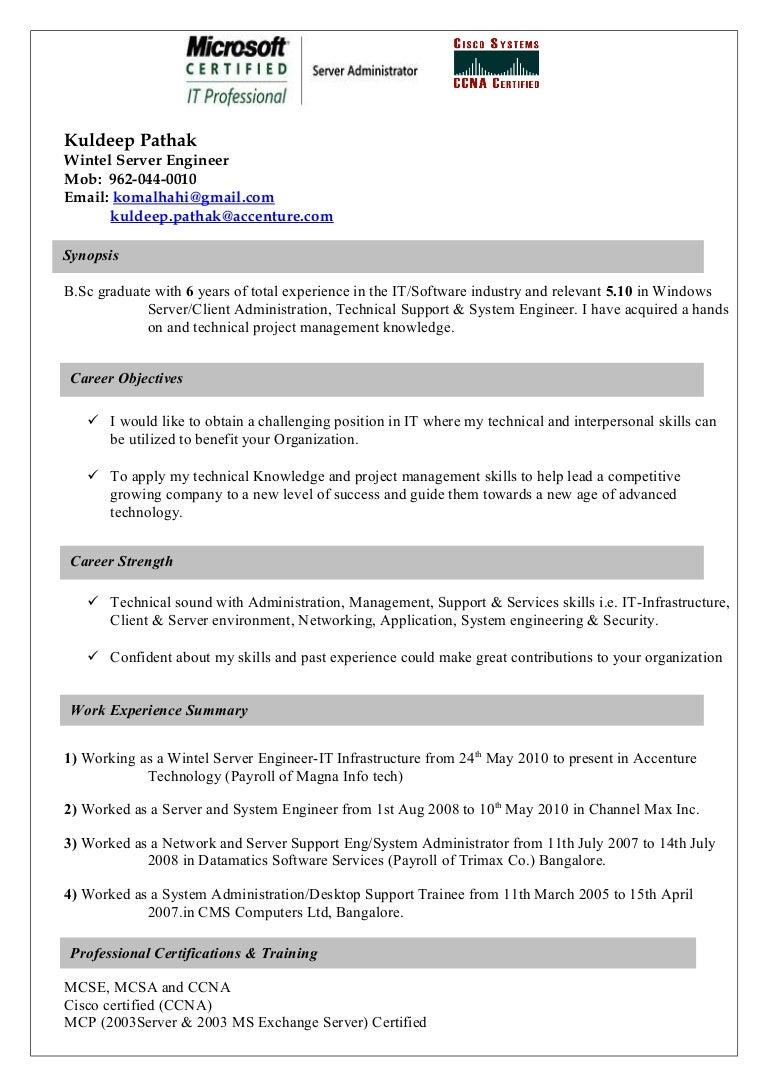 Sample Resume For Windows Server Administrator Fresher Resume
