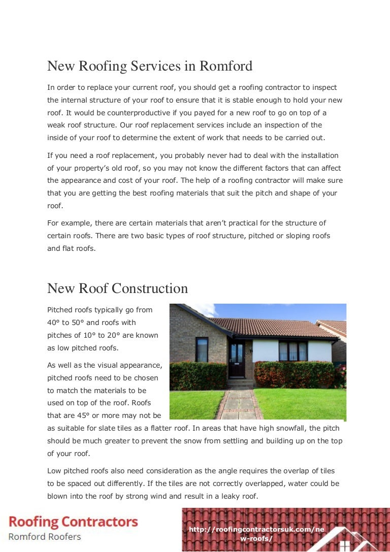 New Roofing Services In Romford Pdf