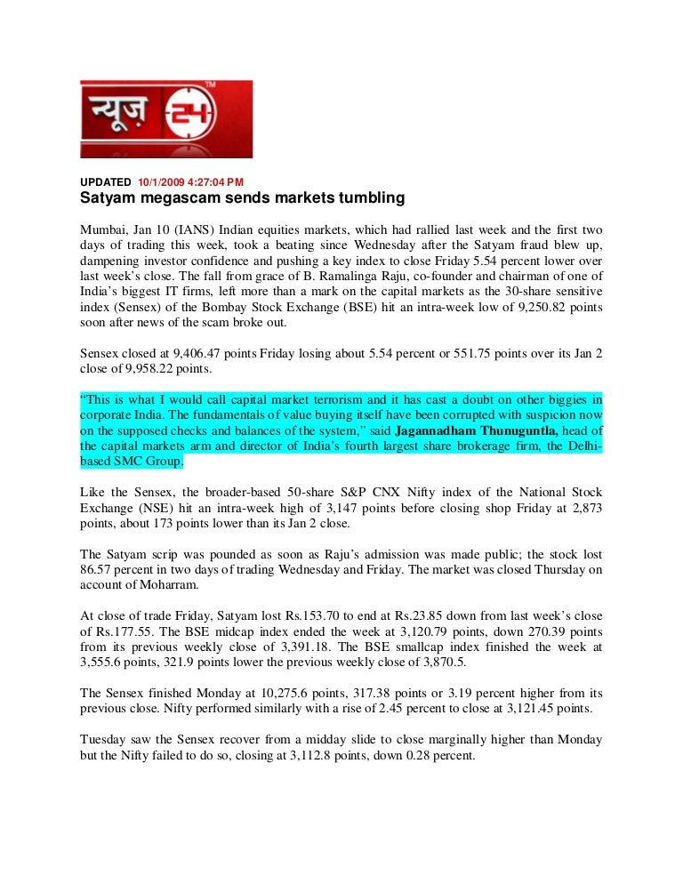 News 24 Jan 10, 2008 Satyam Megascam Sends Markets Tumbling