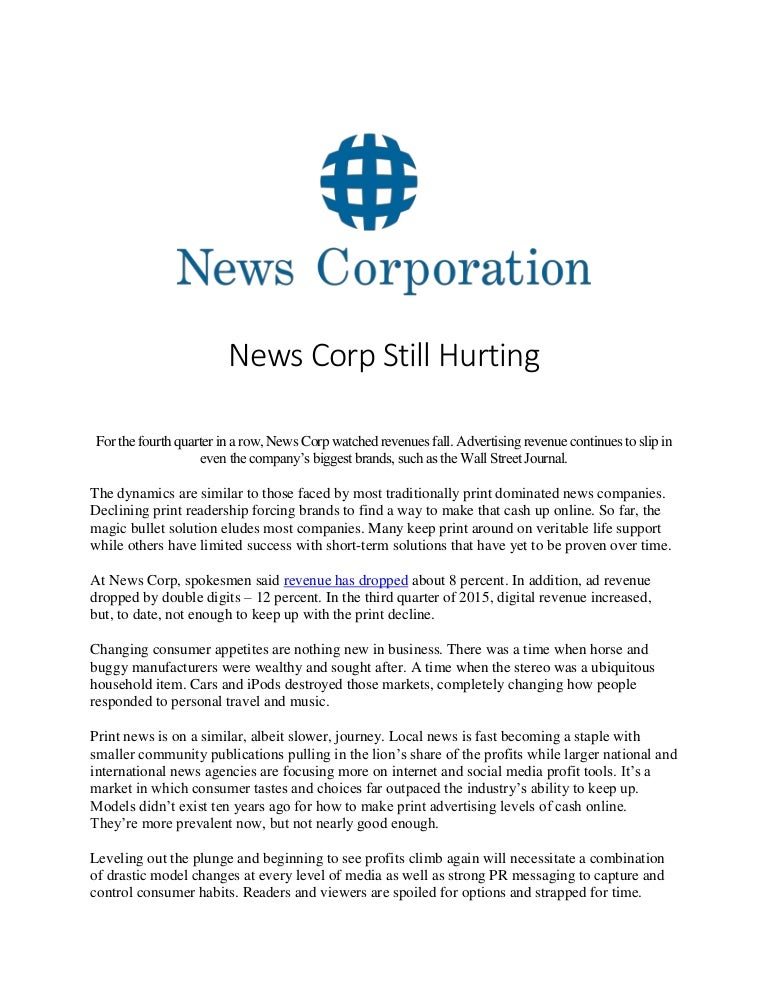 News Corp Still Hurting