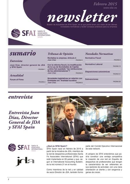 Newsletter SFAI Spain Febrero 2015