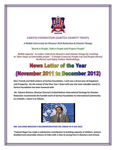 News letter November 2011 to December 2012