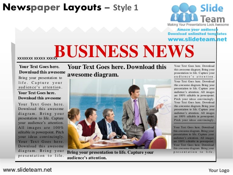 News On Newspaper Layouts Style Design 1 Powerpoint Ppt Slides