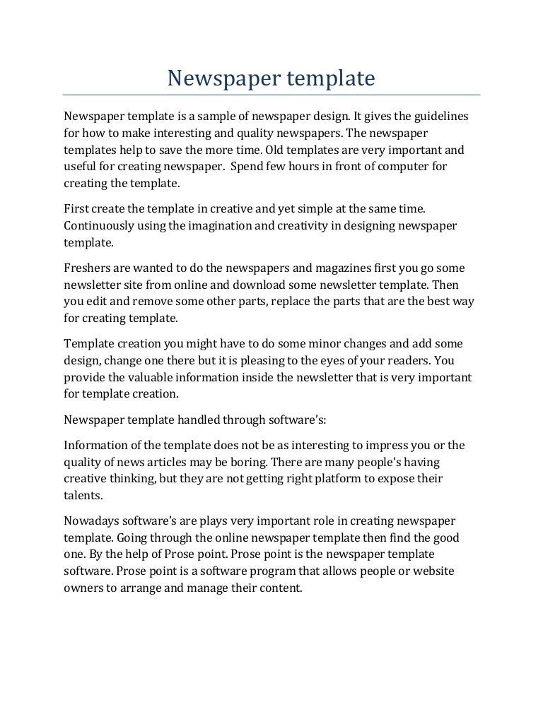 Newspaper Template Olden Times Gallery Template Design Free Download