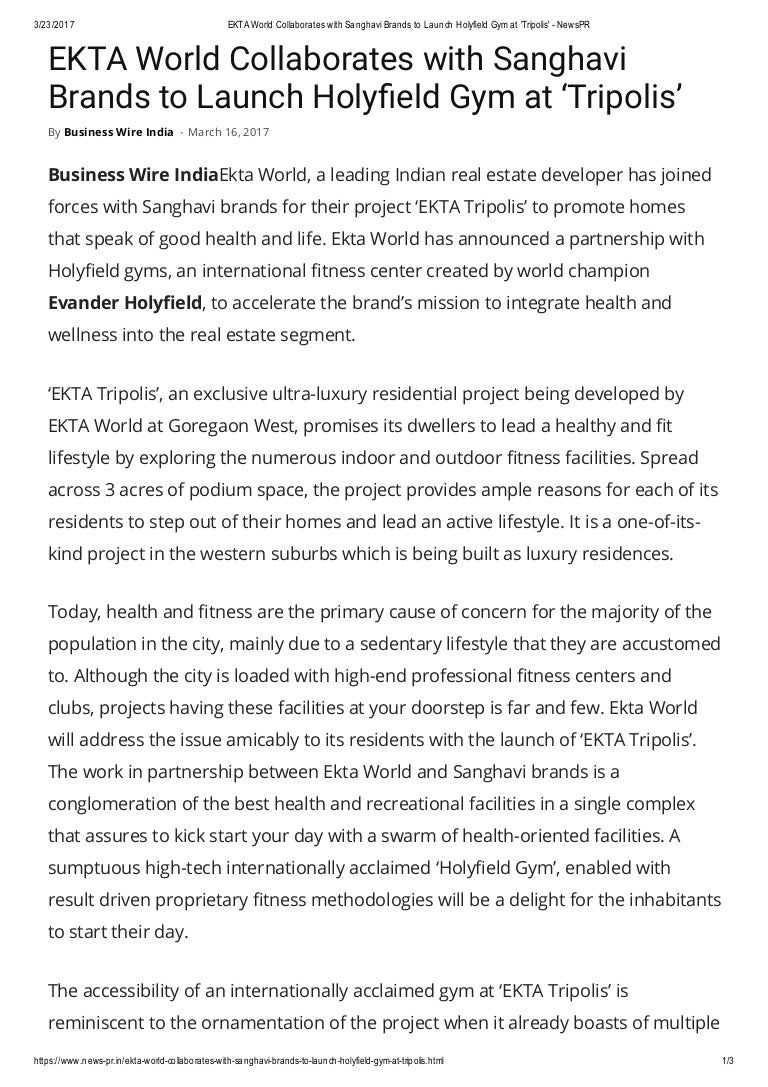 Ekta World Collaborates With Sanghavi Brands To Launch Holyfield Gym