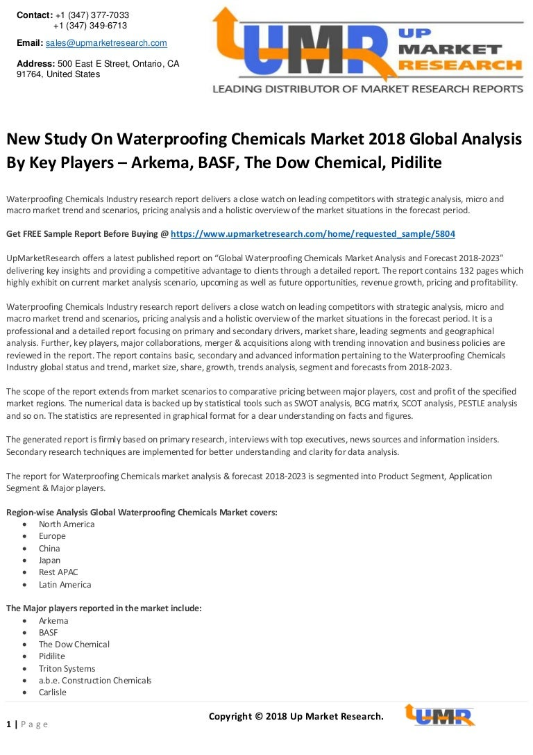 New study on waterproofing chemicals market 2018 global analysis