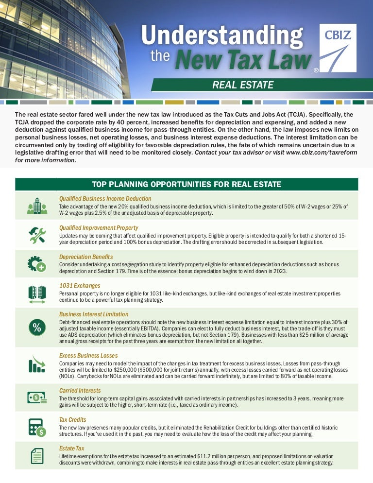 Understanding the New Tax Law: Real Estate