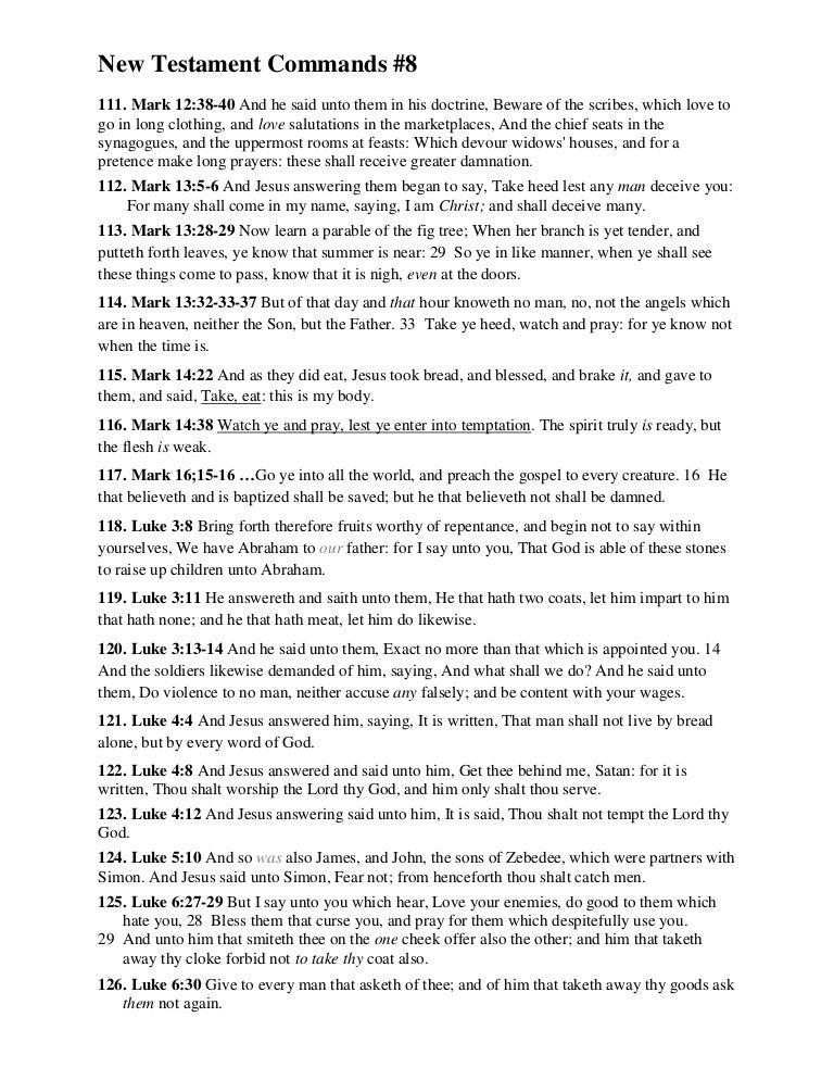 New Testament Commands 8