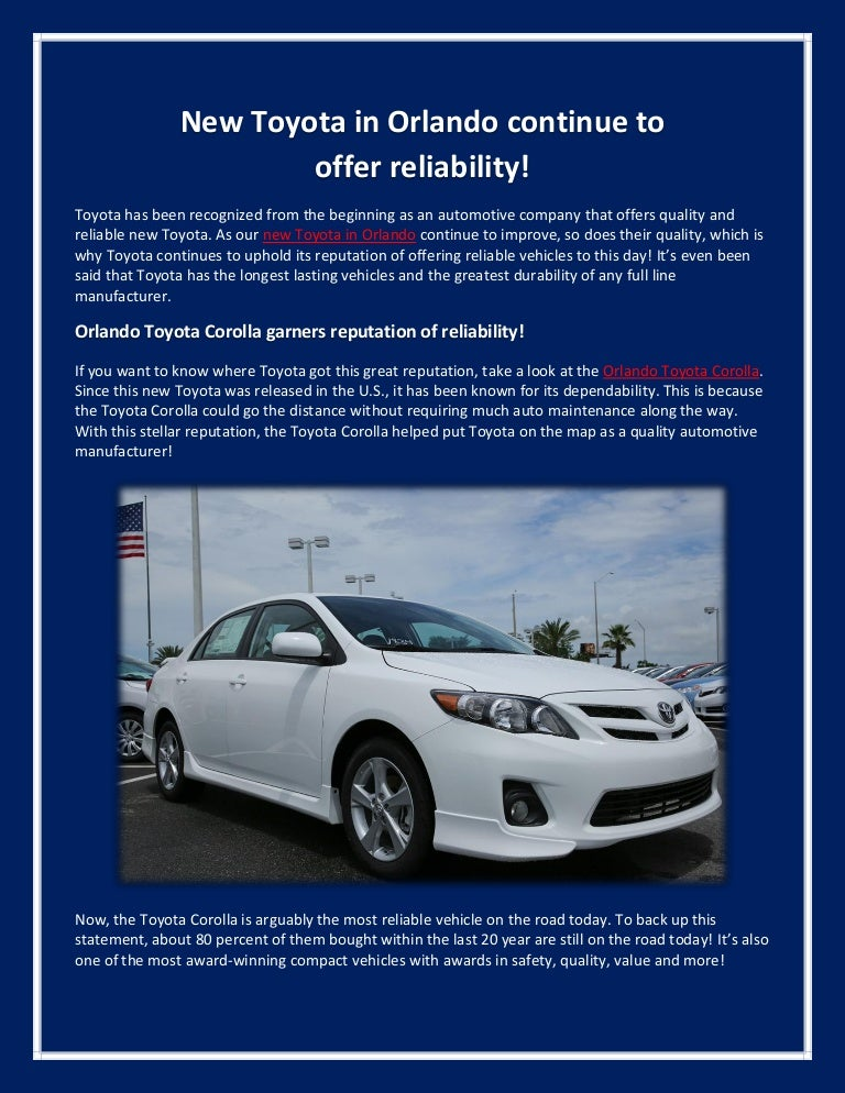 New Toyota In Orlando Continue To Offer Reliability