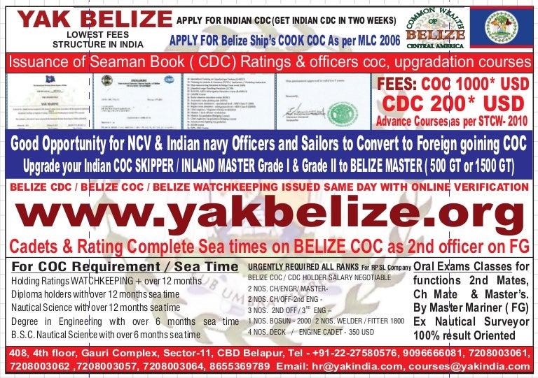 Take (COC) CAMEROON & SRILANKA | SEAMAN - BELIZE SEAMAN (COC
