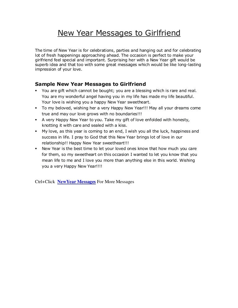 Sample new year messages to Girlfriends