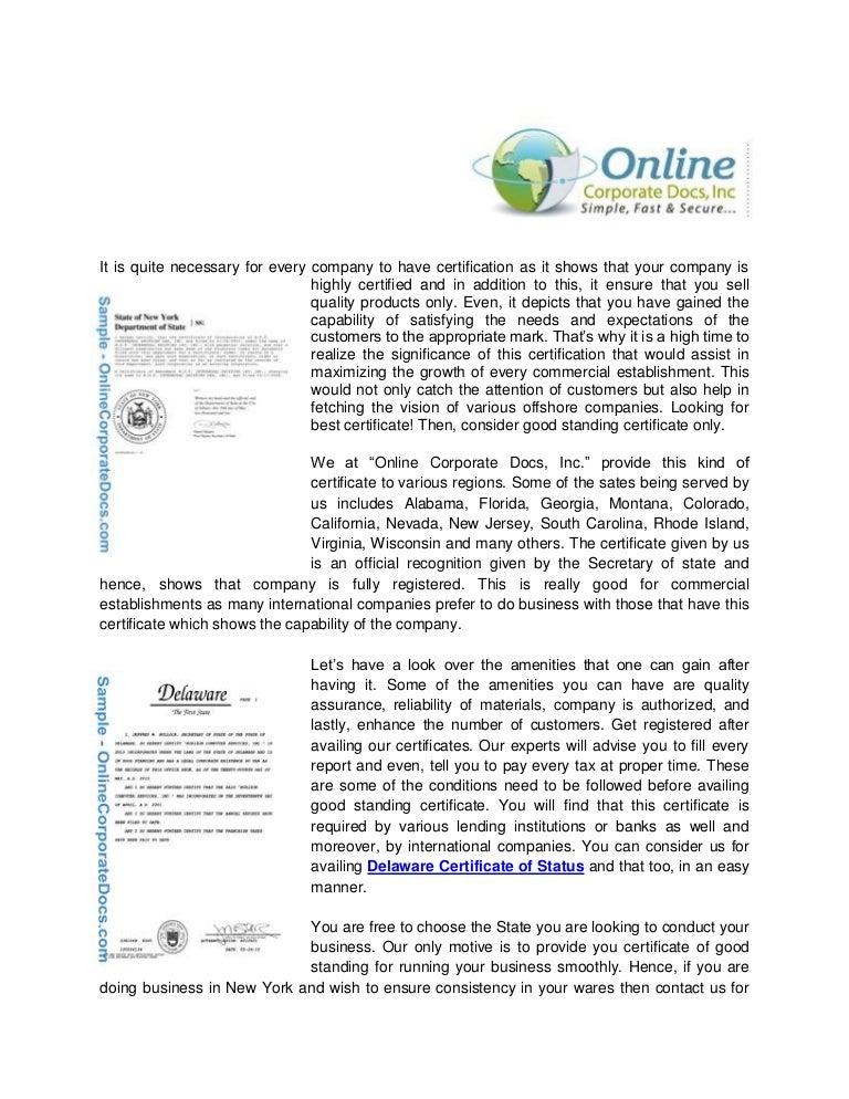certificate standing delaware york slideshare