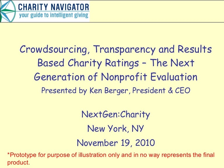 Crowdsourcing, Transparency And Results Based Charity Ratings