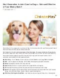 The Next generation in joint care for dogs  safe and effective!