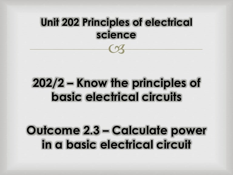 3. calculate power in a basic electrical circuit