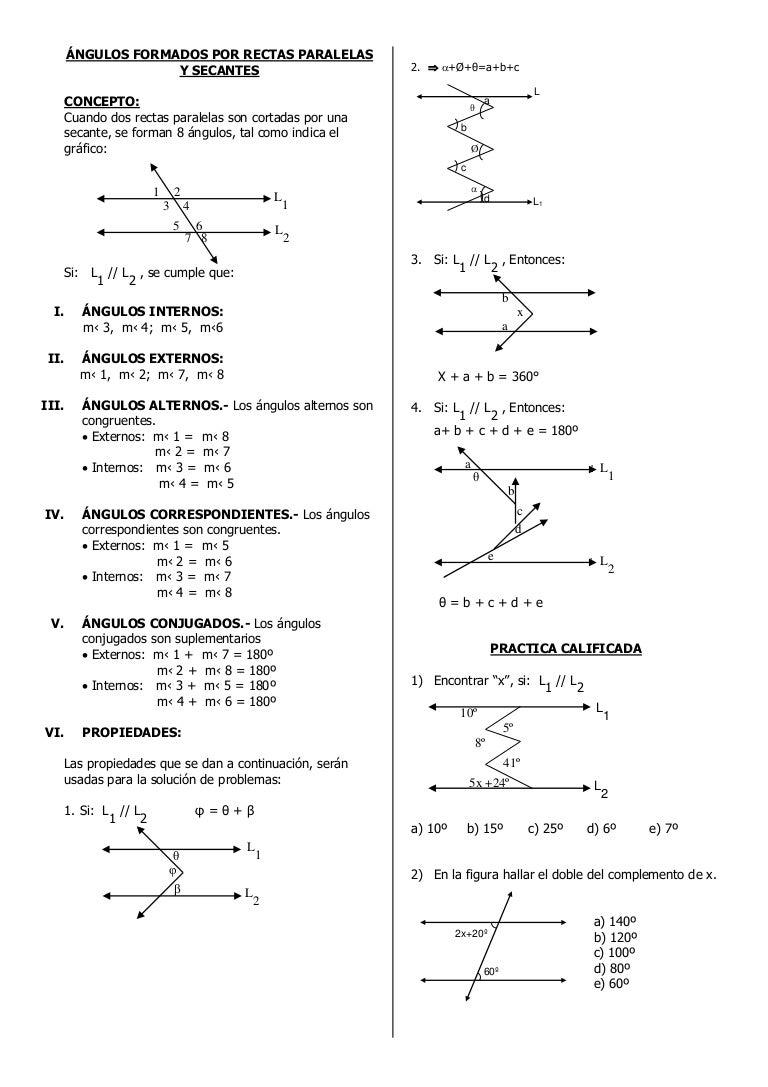 ángulos Formados Por Rectas Paralelas Y Secantes