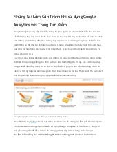 Những sai lầm cần tránh khi sử dụng google analytics với trang tìm kiếm