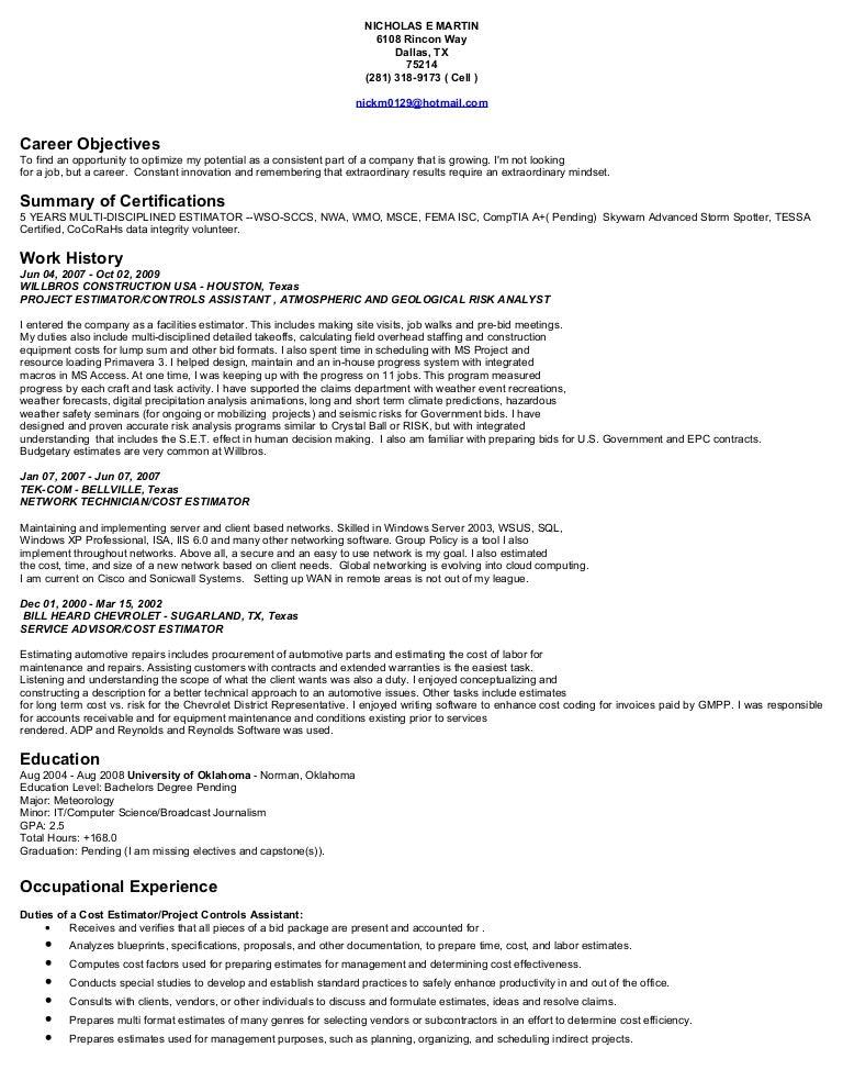 junior electrical estimator resume cv electrical estimation
