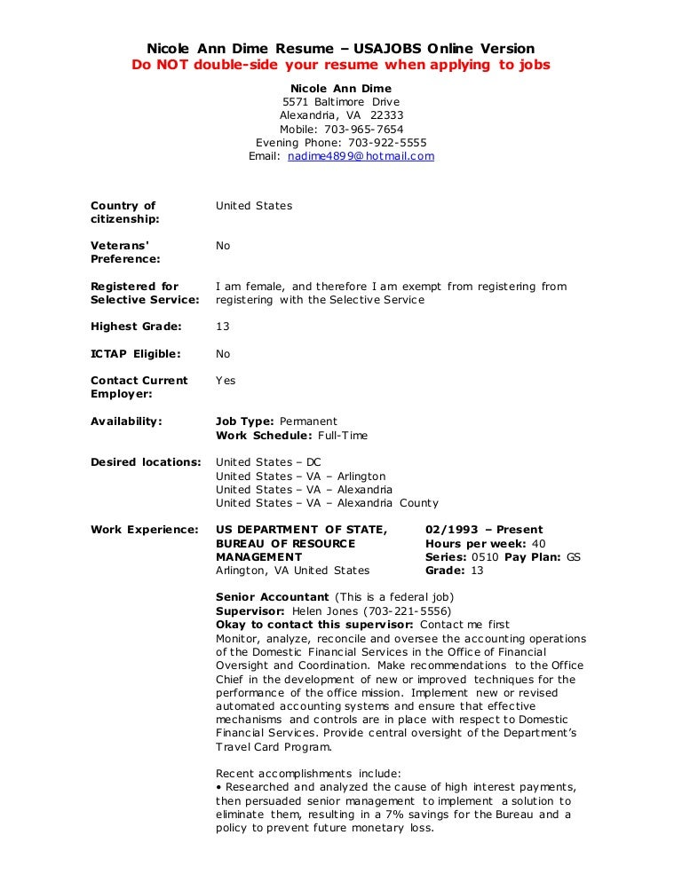 Usa Jobs Resume Builder Example