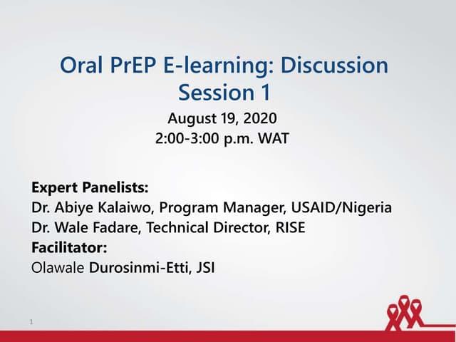 Oral PrEP E-learning: Discussion Session 1