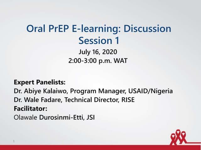 Oral PrEP E-learning: Discussion Session
