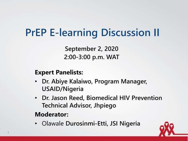 PrEP E-learning Discussion II