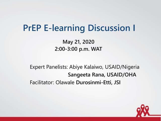 PrEP E-Learning Discussion I