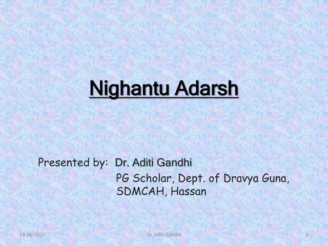 Nighantu Adarsh - lexicon in Ayurveda