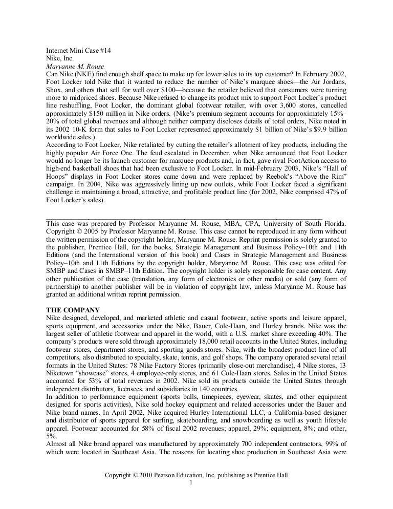 Strategic Management   Nike Case Study   Shoe   Knowledge Mgt      Nike Strategic Analysis