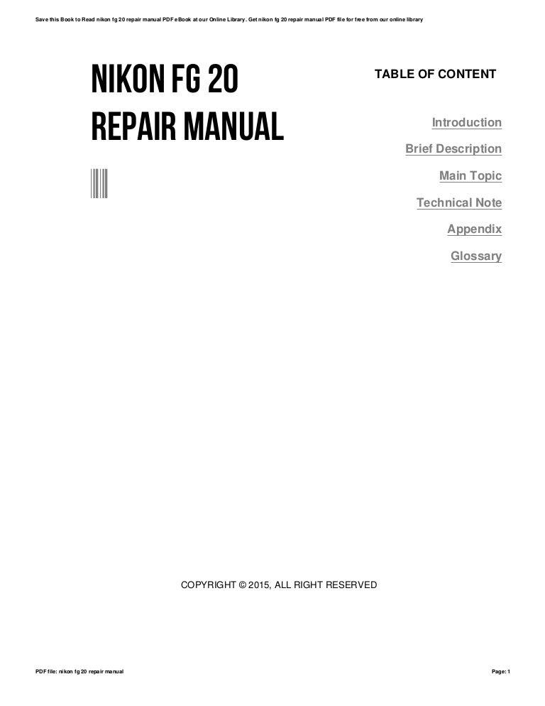 Nikon fg 20 repair manual
