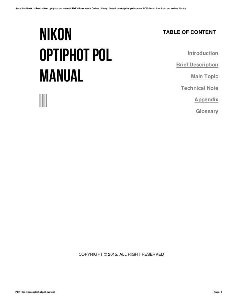 Nikon optiphot pol manual
