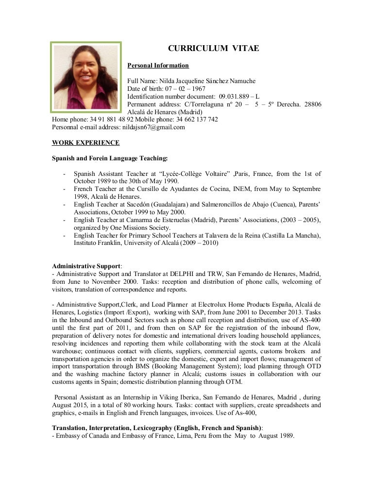 nilda resume english - Resume In English
