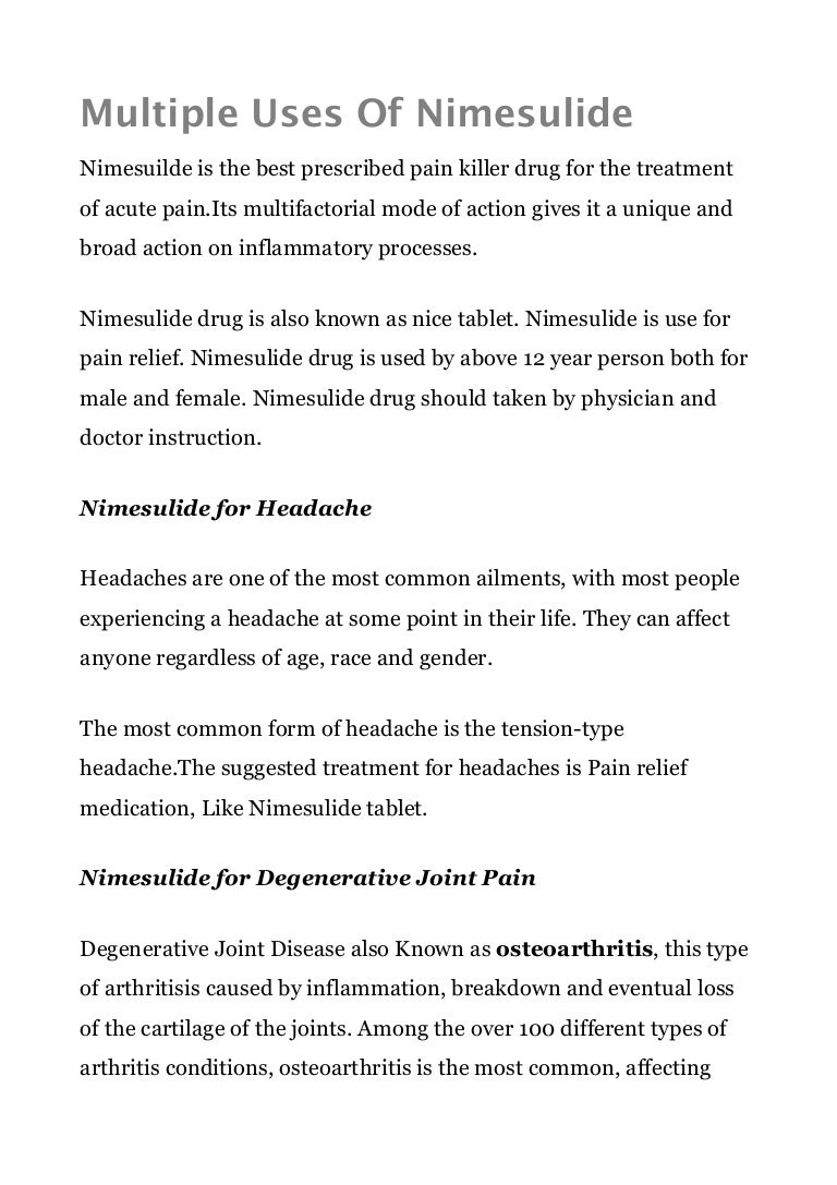 The drug Nimulide. Instructions for use