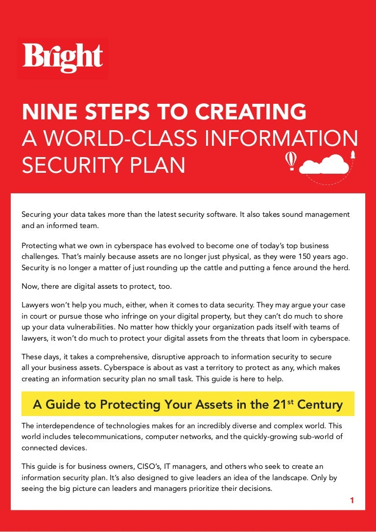Nine Steps To Creating A World Class Information Security Plan Data Software