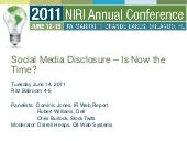 Social Media Disclosure - Is Now the Time? - June 14, 2011