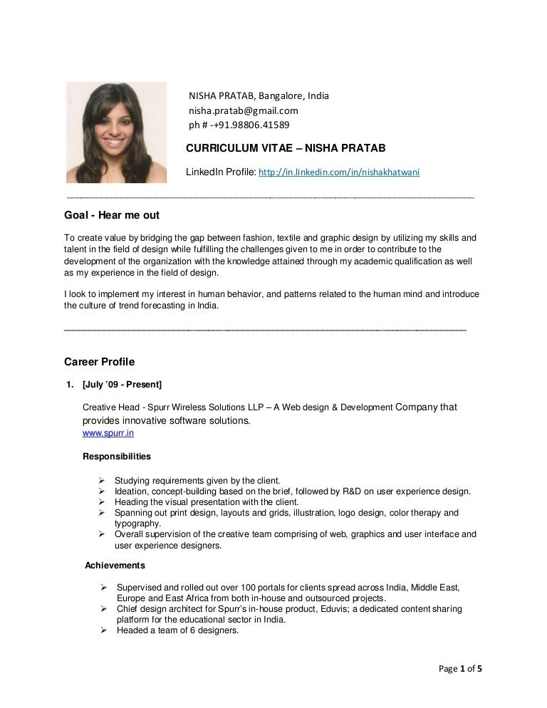 resume sample in indian style