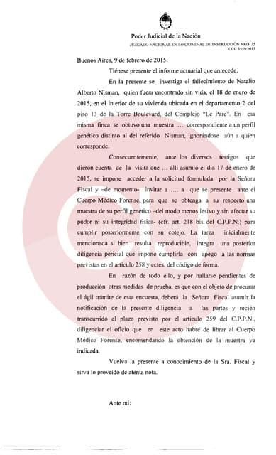 Hallaron dpto de Nisman un perfil genético distinto al del fiscal-Citan a Lagomarsino para cotejar su ADN
