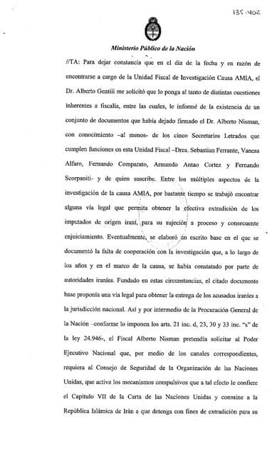 LOS ESCRITOS que Nisman tenía en su caja fuerte