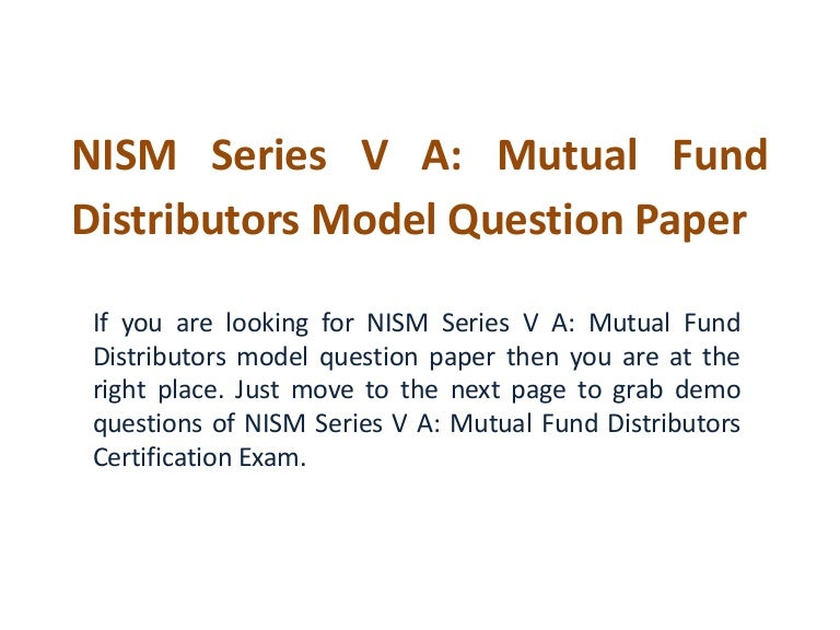 Nism series v a mutual fund model question paper yadclub Image collections
