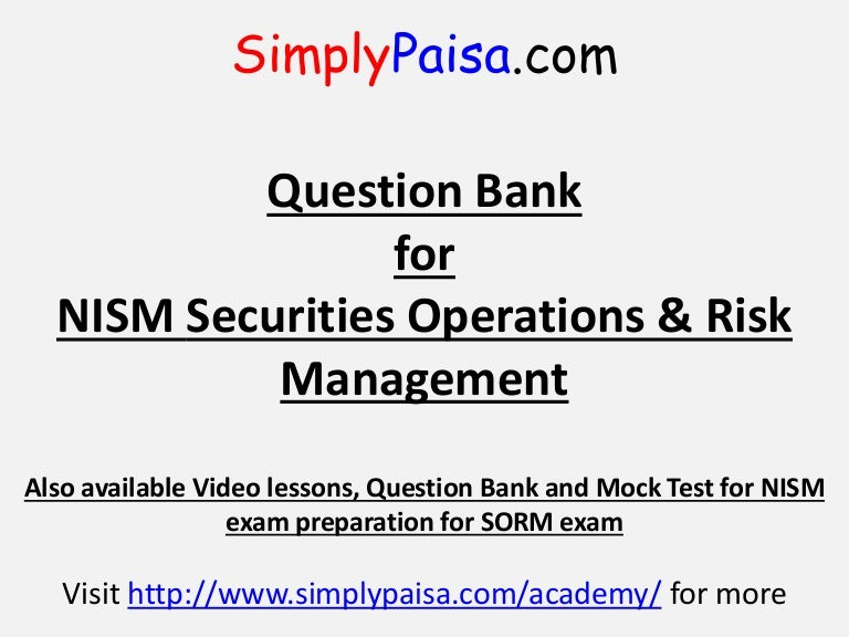 NISM Securities Operations and Risk Management exam Question