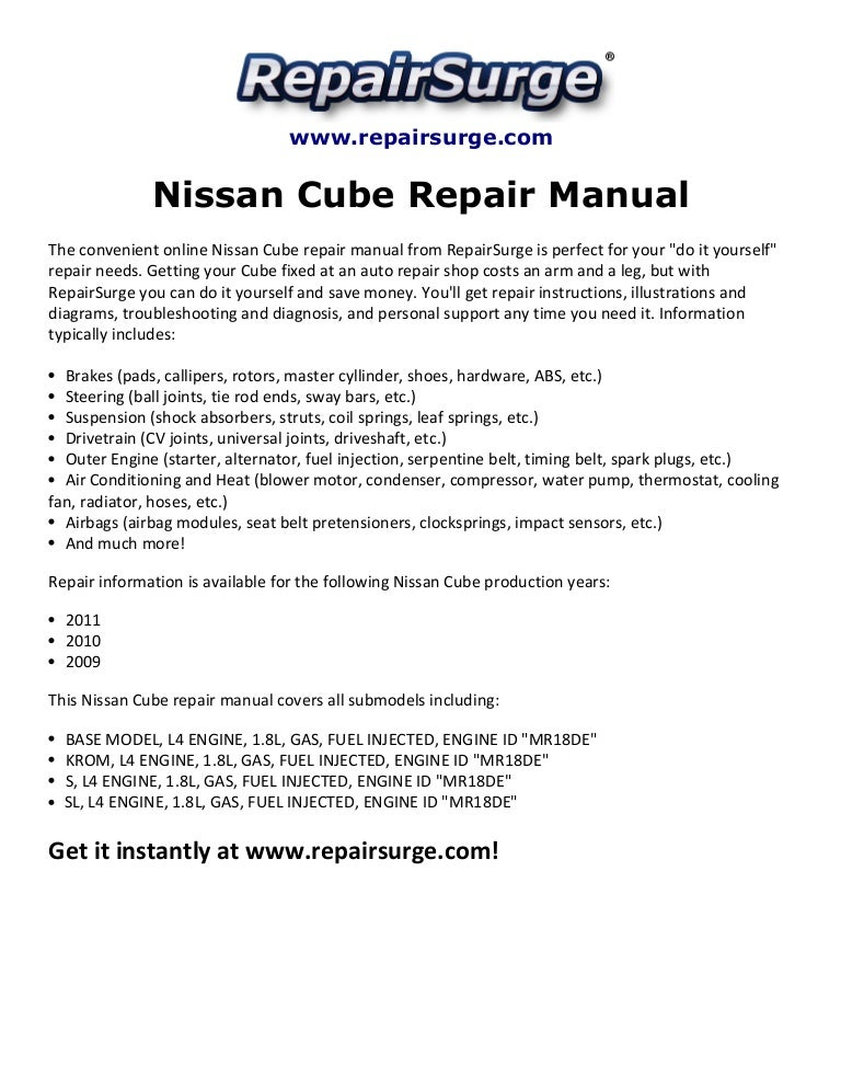 nissan cube repair manual 2009 2011 rh slideshare net 2010 nissan cube factory service manual Nissan Cube Exhaust System