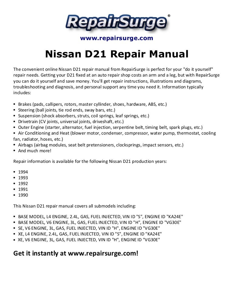 nissan d21 repair manual 1990 1994  slideshare