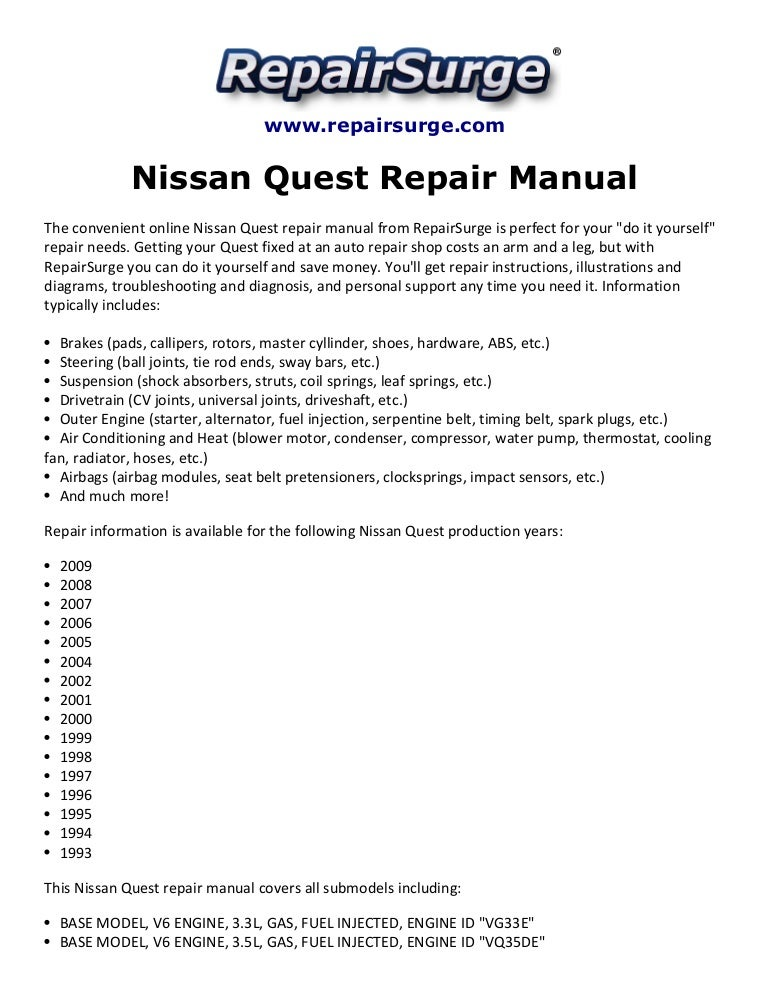 [SCHEMATICS_4US]  Nissan quest repair manual 1993 2009 | 1991 Nissan Quest Wiring Schematic |  | SlideShare