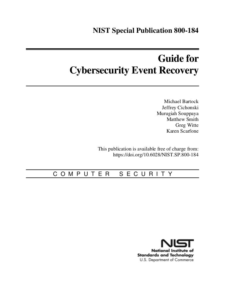 Nist Cybersecurity Event Recovery Guide 800 184